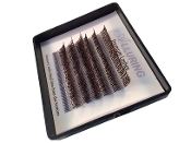 Alluring Dark Brown Glitter Lashes C Curl  Mini Tray Mixed Size