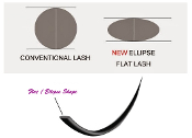 Flat Ellipse Sheen Lashes C Curl Eyelash Extension, Slim Lashes