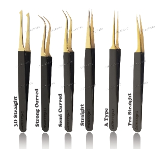 *Alluring Black with Gold Tip Tweezers for Eyelash Extension