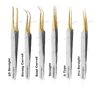 *Alluring Chrome with Gold Tip Tweezers for Eyelash Extension